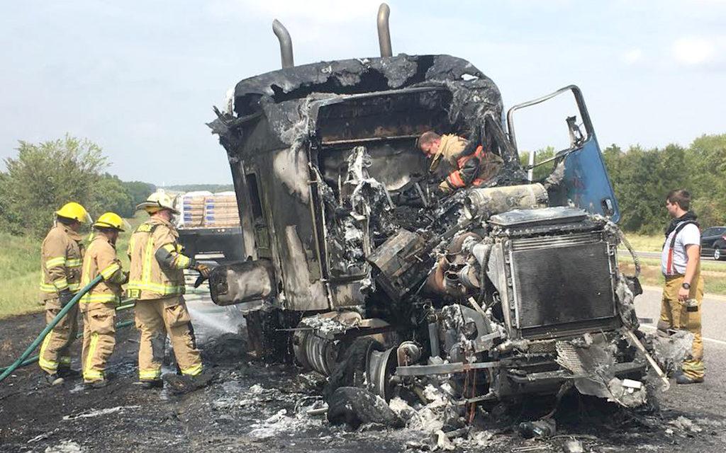 Fire Stalls Traffic on I-45